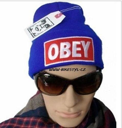 Obey zimní pletená čepice modrá