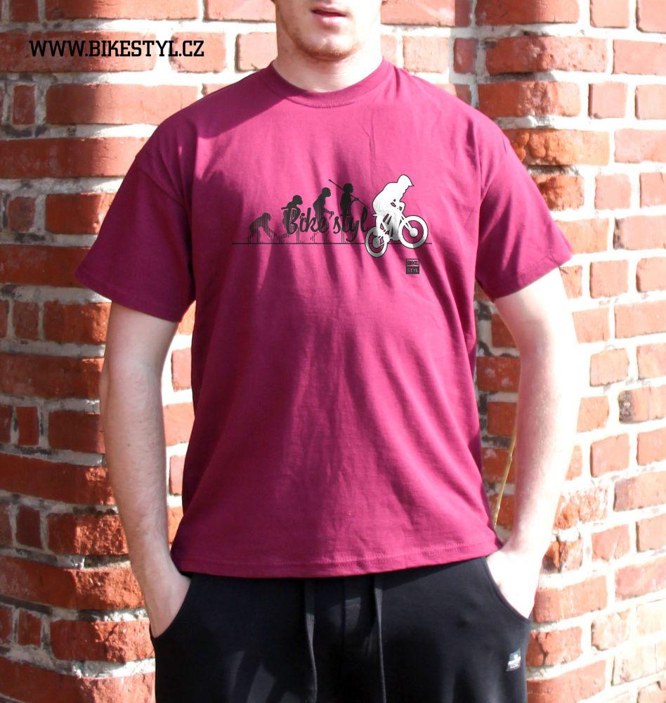 pánské tričko Bike Evolution bikestyl burgundy