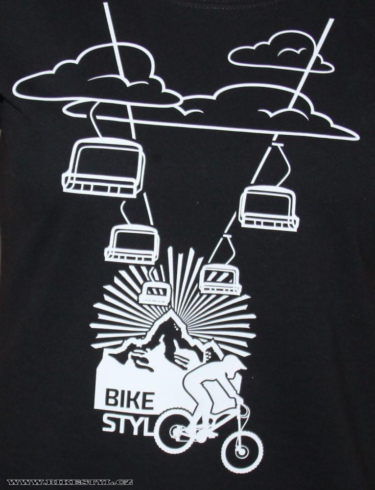 dámské triko Mountain Cableway černé bikestyl